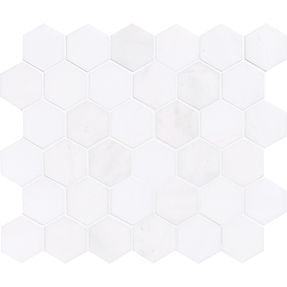 Snow White Marble  Hexagon Pattern Mosaic