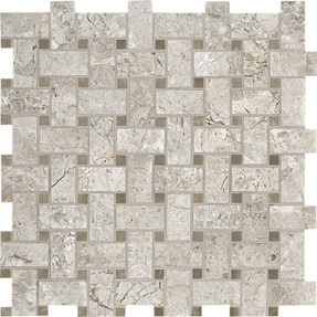 Silver Clouds Marble Basket Weave Pattern Mosaic