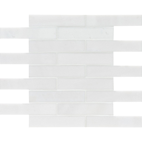 Aspen White Marble Rectangle Brick Bond Pattern Mosaic