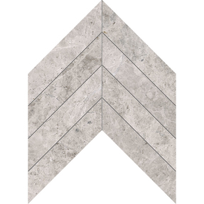 Silver Clouds Marble Chevron Pattern Mosaic
